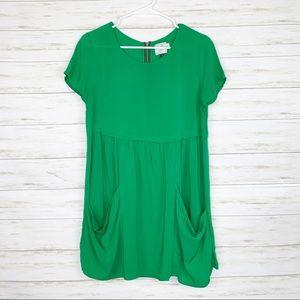 HD in Paris Green Pocket Front Mini Babydoll Dress
